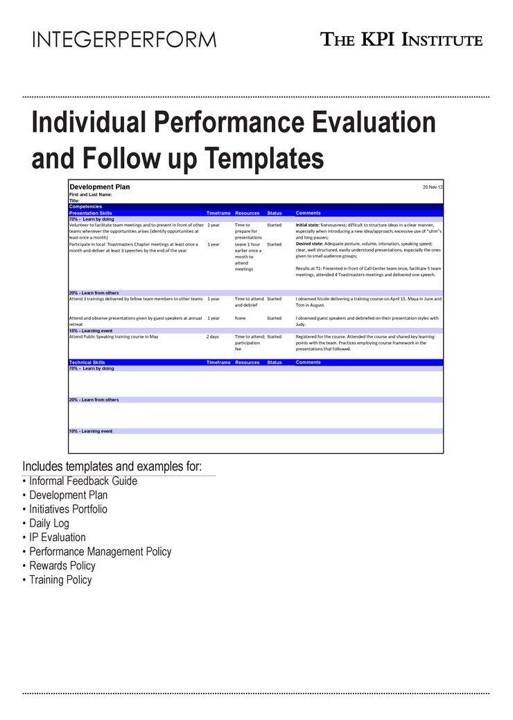 Individual Performance Evaluation And Follow Up Templates  Performance Appraisals Templates
