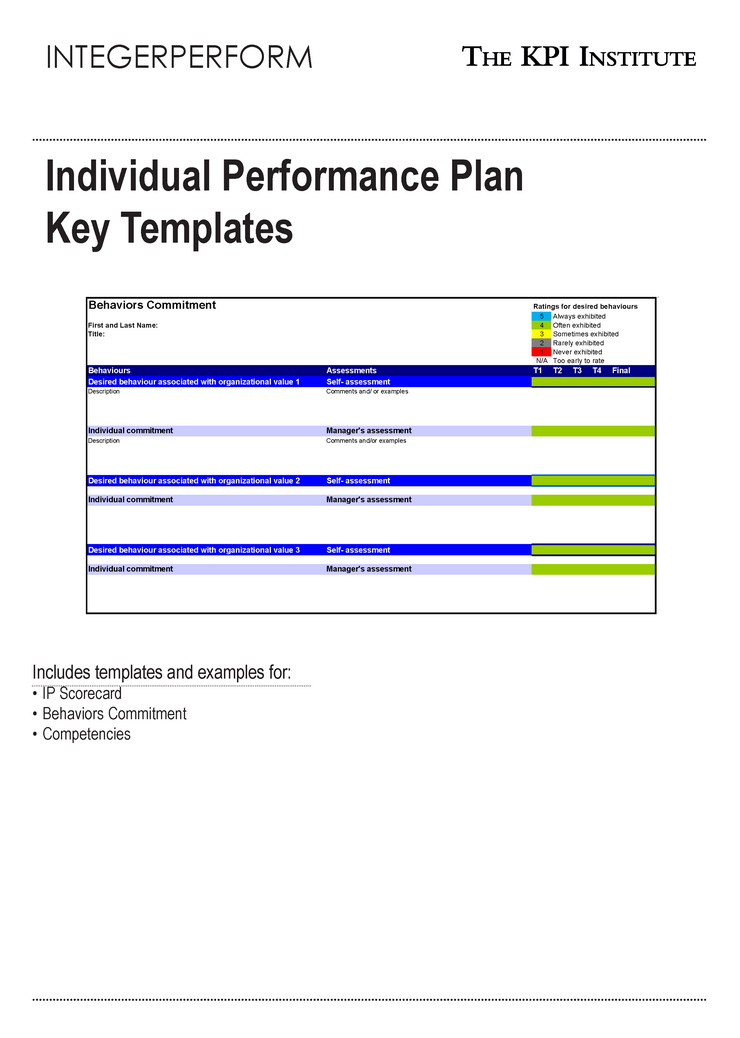 Individual performance plan key templates e book course for Performance testing test plan template