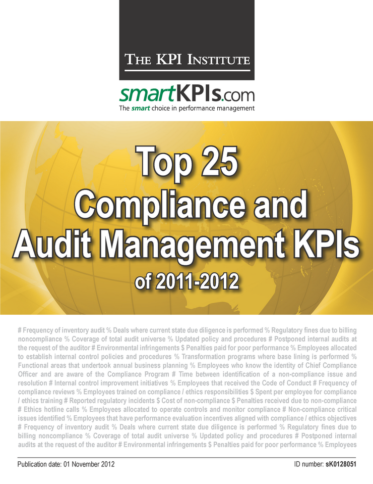 Top 25 Compliance and Audit Management KPI 2011-2012 E-Book 1