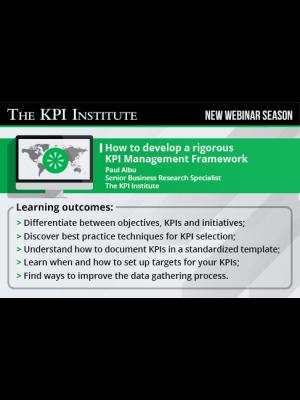 How to develop a rigorous KPI Management Framework 2016 Global Edition