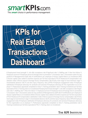 KPIs for Real Estate Transactions Dashboard