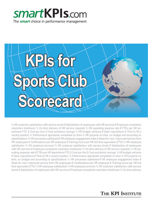 KPIs for Sports Club Scorecard