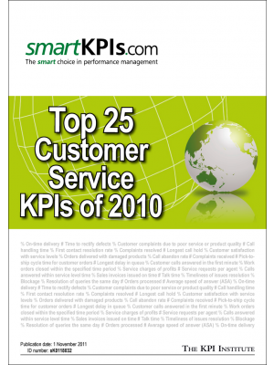 Top 25 Customer Service KPIs of 2010