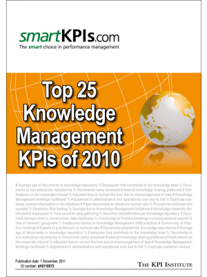 Top 25 Knowledge Management KPIs of 2010