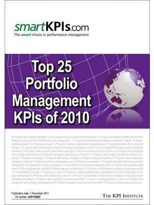 Top 25 Portfolio Management KPIs of 2010