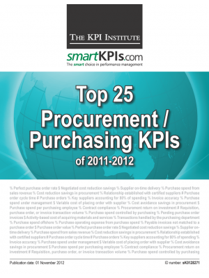 Top 25 Procurement / Purchasing KPIs of 2011-2012