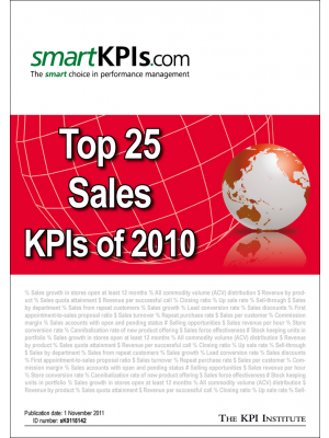 Top 25 Sales KPIs of 2010