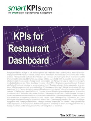 KPIs for Restaurant Dashboard