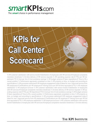 KPIs for Call Center Scorecard